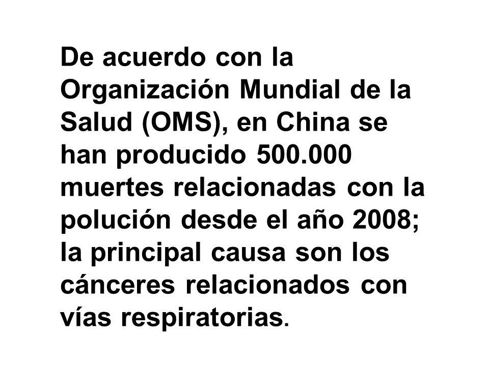 De acuerdo con la Organización Mundial de la Salud (OMS), en China se han producido 500.000 muertes relacionadas con la polución desde el año 2008; la principal causa son los cánceres relacionados con vías respiratorias.