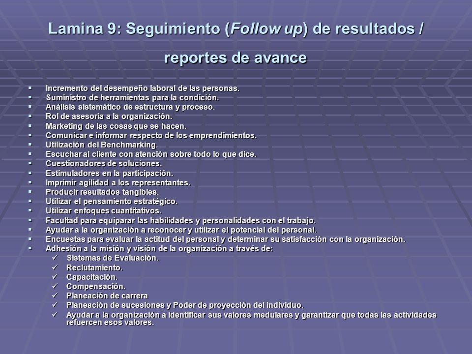 Lamina 8: Instrumentación de cursos específicos de acción Implementar constantemente: Un sistema de evaluación del desempeño como herramienta útil, pa