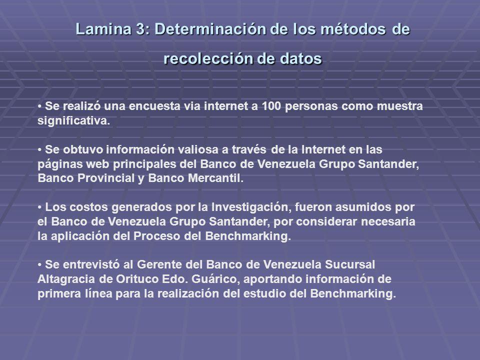 Lamina 3: Determinación de los métodos de recolección de datos Se realizó una encuesta via internet a 100 personas como muestra significativa.