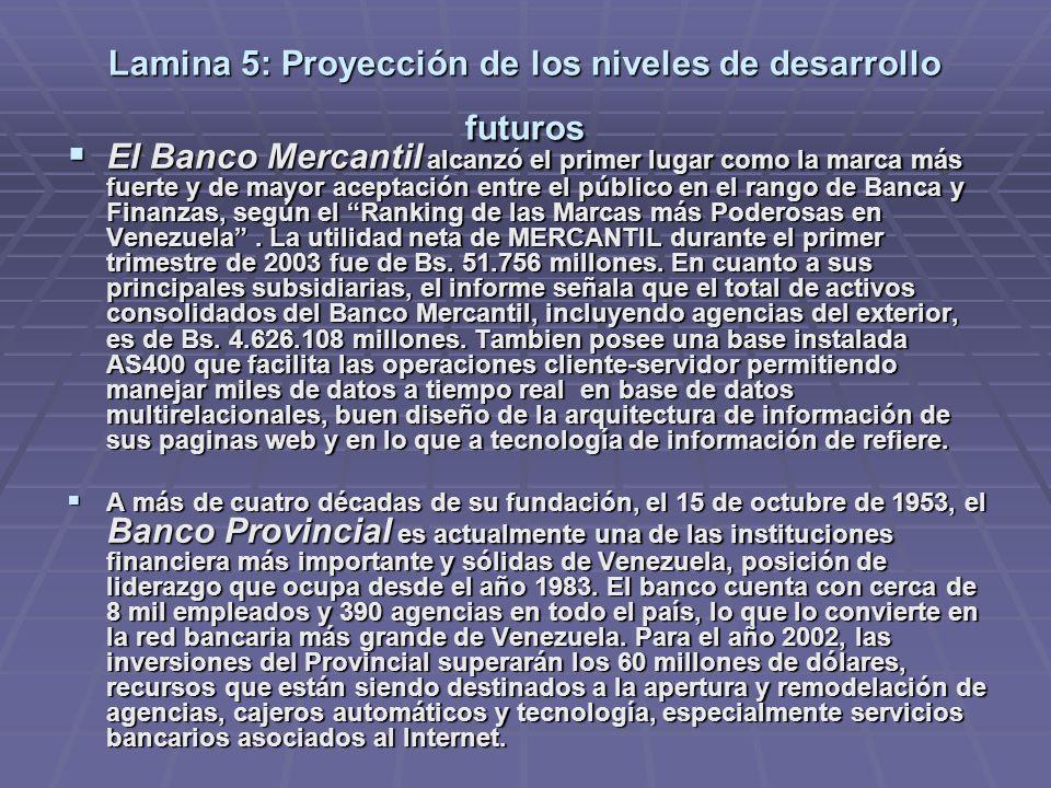 Lamina 5: Proyección de los niveles de desarrollo futuros El Banco Mercantil alcanzó el primer lugar como la marca más fuerte y de mayor aceptación entre el público en el rango de Banca y Finanzas, según el Ranking de las Marcas más Poderosas en Venezuela.