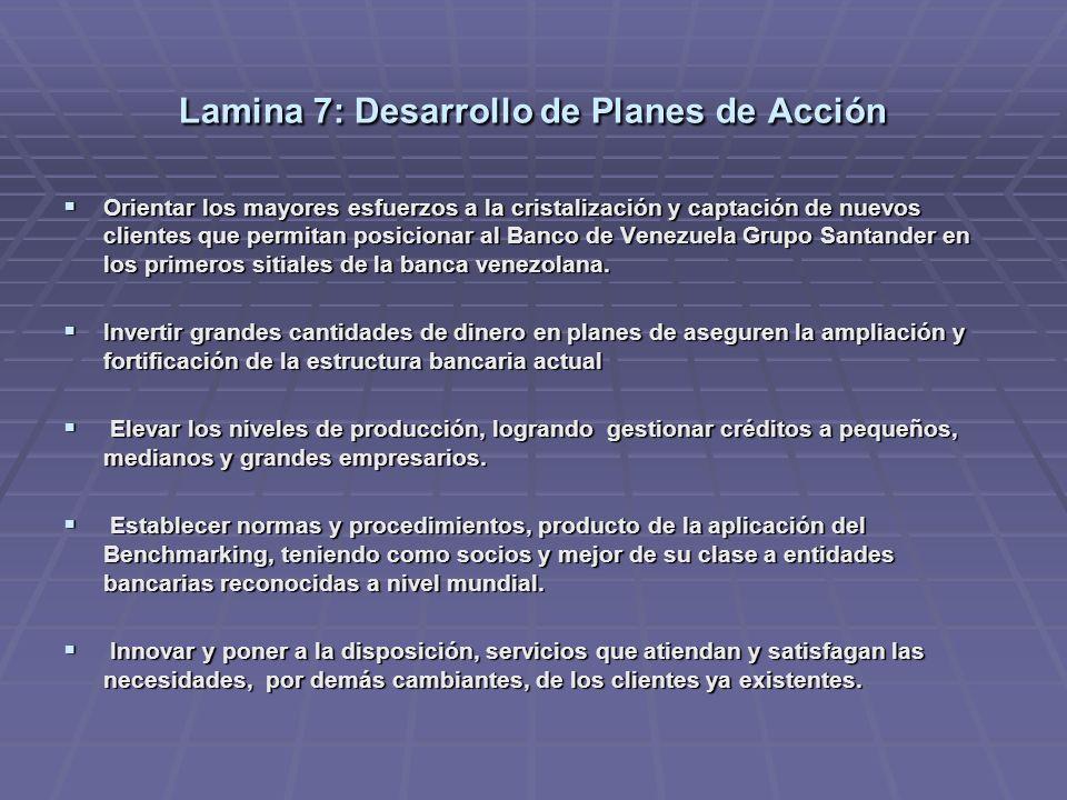 Lamina 7: Desarrollo de Planes de Acción Orientar los mayores esfuerzos a la cristalización y captación de nuevos clientes que permitan posicionar al Banco de Venezuela Grupo Santander en los primeros sitiales de la banca venezolana.