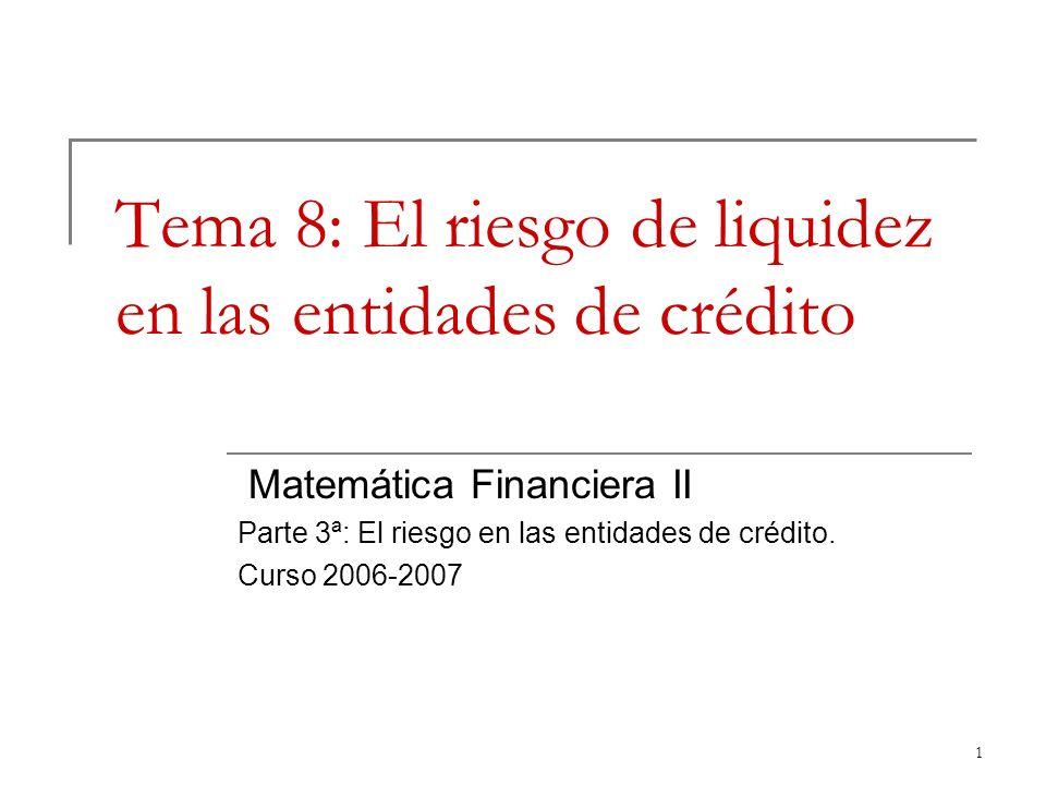 1 Tema 8: El riesgo de liquidez en las entidades de crédito Matemática Financiera II Parte 3ª: El riesgo en las entidades de crédito. Curso 2006-2007