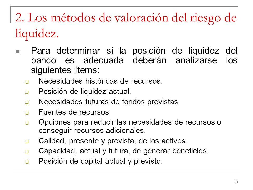 10 2. Los métodos de valoración del riesgo de liquidez. Para determinar si la posición de liquidez del banco es adecuada deberán analizarse los siguie