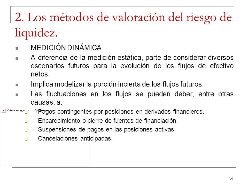 16 2. Los métodos de valoración del riesgo de liquidez. MEDICIÓN DINÁMICA A diferencia de la medición estática, parte de considerar diversos escenario