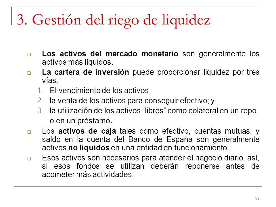 19 3. Gestión del riego de liquidez Los activos del mercado monetario son generalmente los activos más líquidos. La cartera de inversión puede proporc