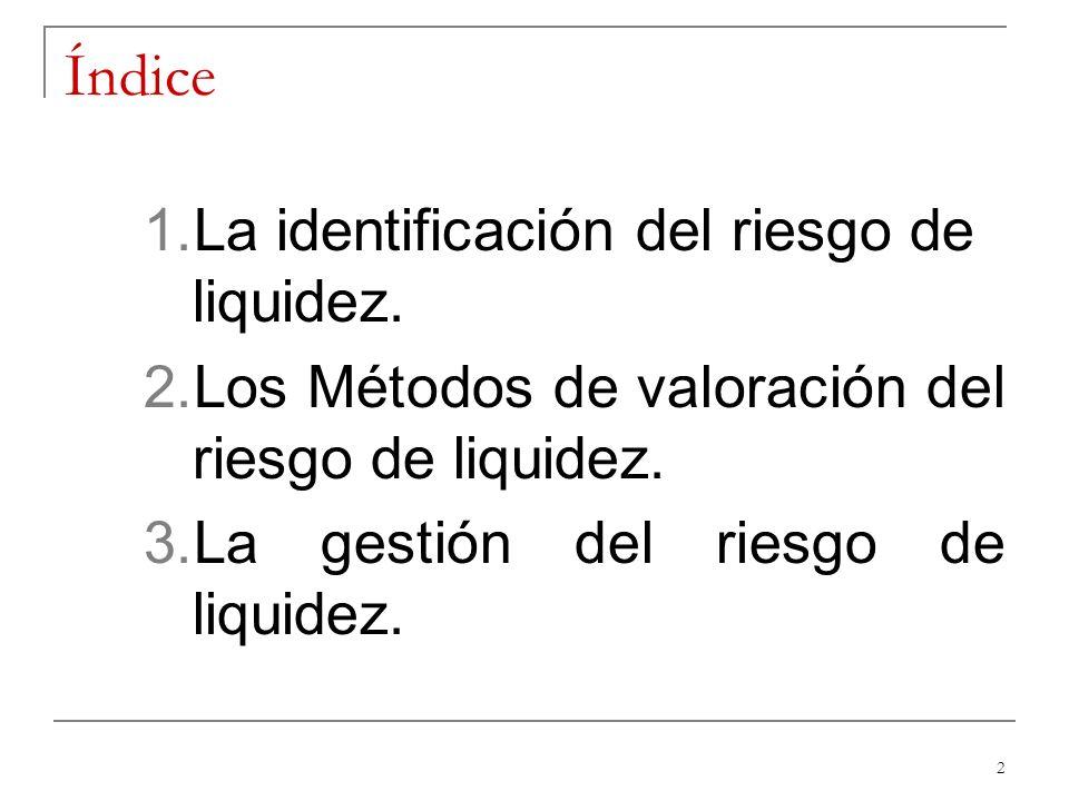 2 Índice 1.La identificación del riesgo de liquidez. 2.Los Métodos de valoración del riesgo de liquidez. 3.La gestión del riesgo de liquidez.
