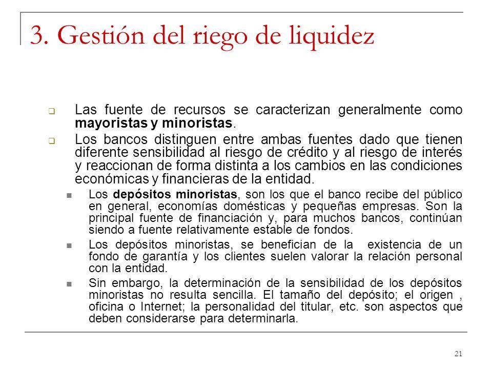 21 3. Gestión del riego de liquidez Las fuente de recursos se caracterizan generalmente como mayoristas y minoristas. Los bancos distinguen entre amba
