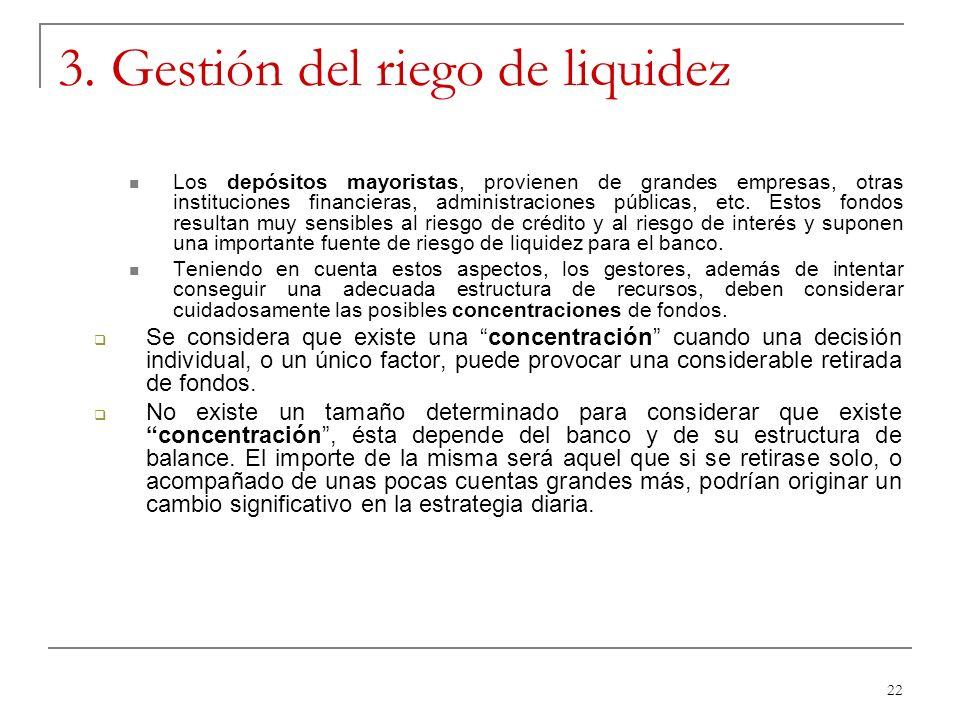 22 3. Gestión del riego de liquidez Los depósitos mayoristas, provienen de grandes empresas, otras instituciones financieras, administraciones pública