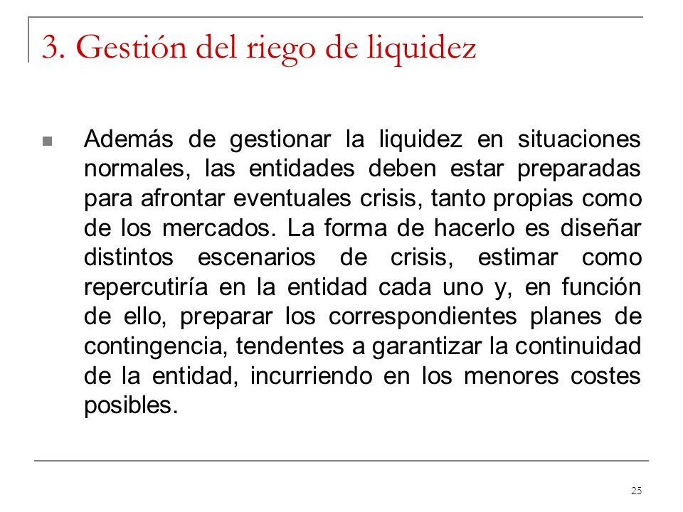 25 3. Gestión del riego de liquidez Además de gestionar la liquidez en situaciones normales, las entidades deben estar preparadas para afrontar eventu