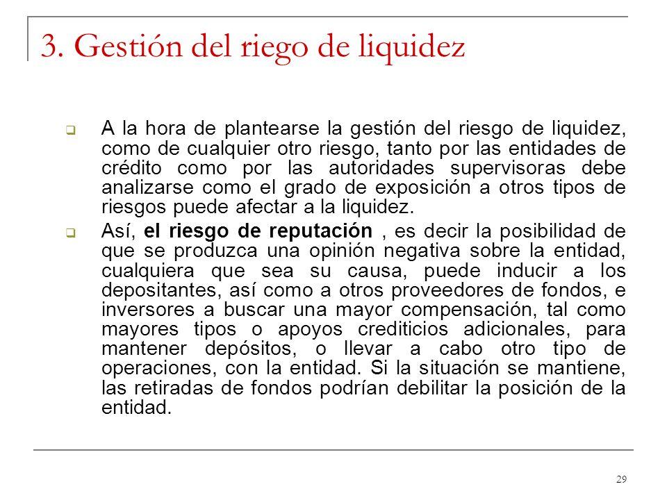 29 3. Gestión del riego de liquidez A la hora de plantearse la gestión del riesgo de liquidez, como de cualquier otro riesgo, tanto por las entidades