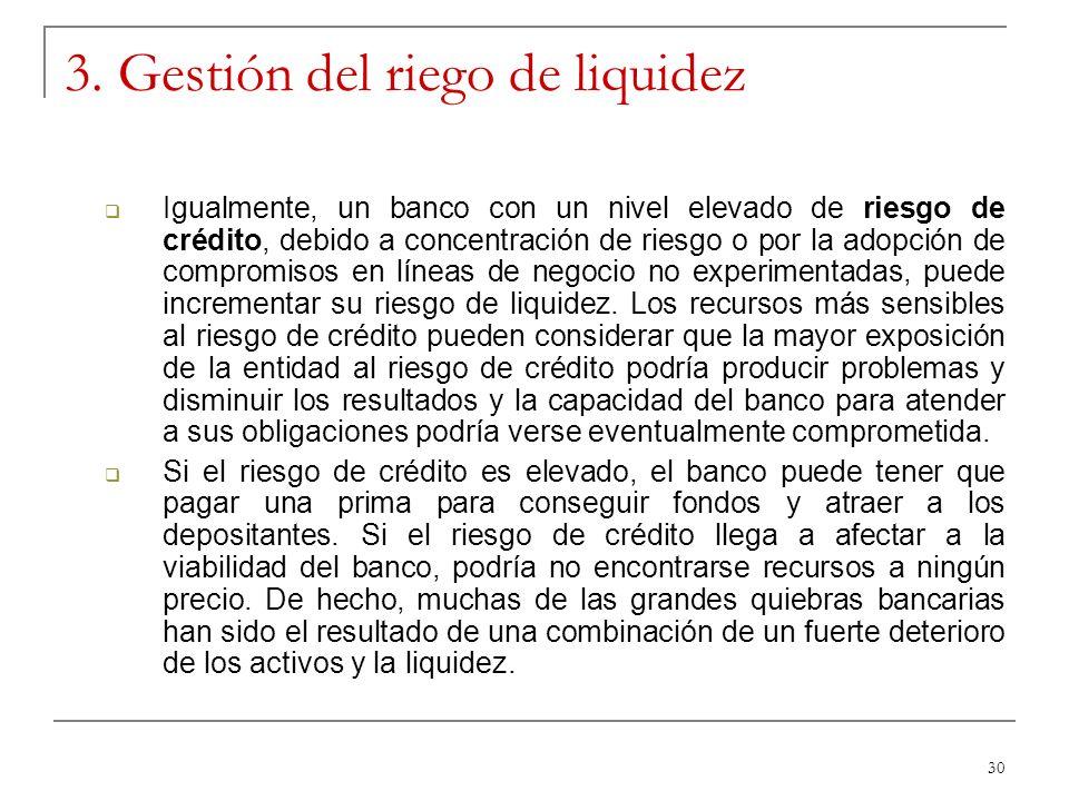 30 3. Gestión del riego de liquidez Igualmente, un banco con un nivel elevado de riesgo de crédito, debido a concentración de riesgo o por la adopción