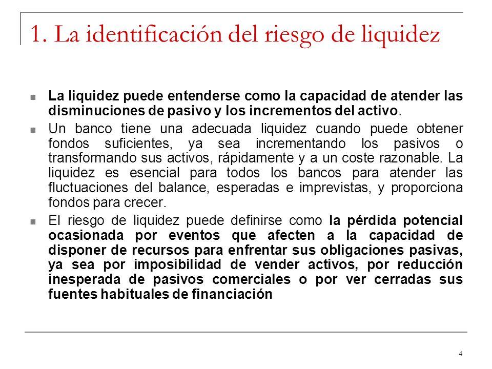 4 1. La identificación del riesgo de liquidez La liquidez puede entenderse como la capacidad de atender las disminuciones de pasivo y los incrementos