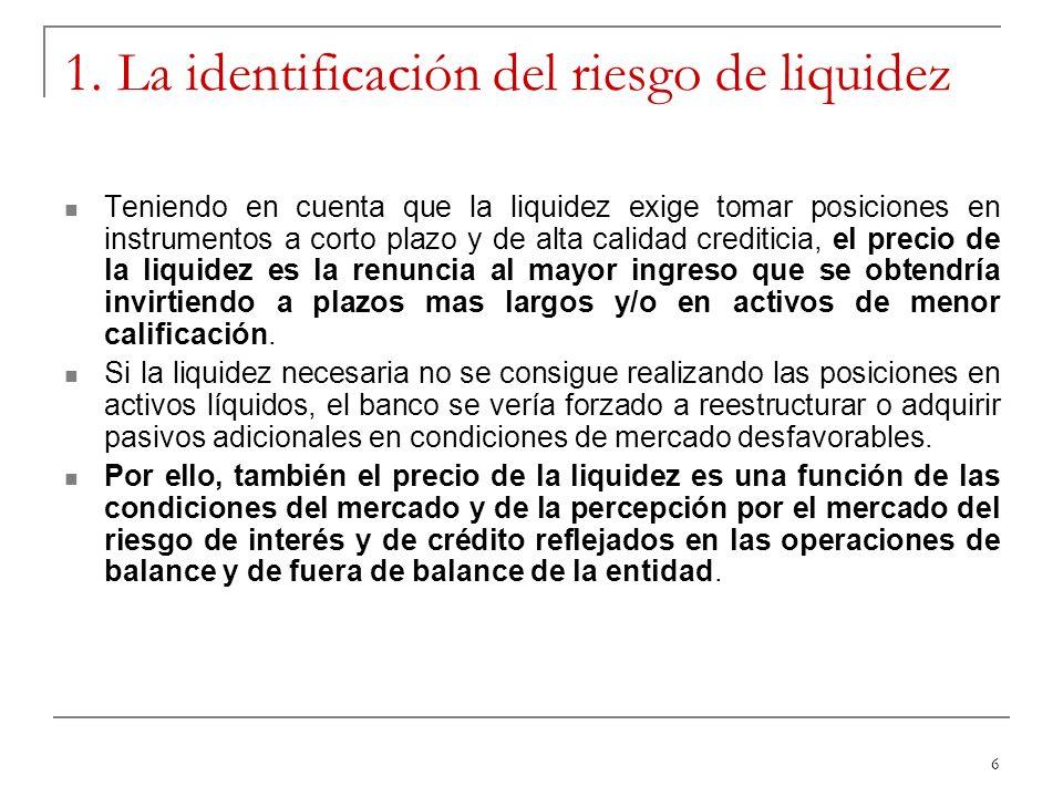 6 1. La identificación del riesgo de liquidez Teniendo en cuenta que la liquidez exige tomar posiciones en instrumentos a corto plazo y de alta calida