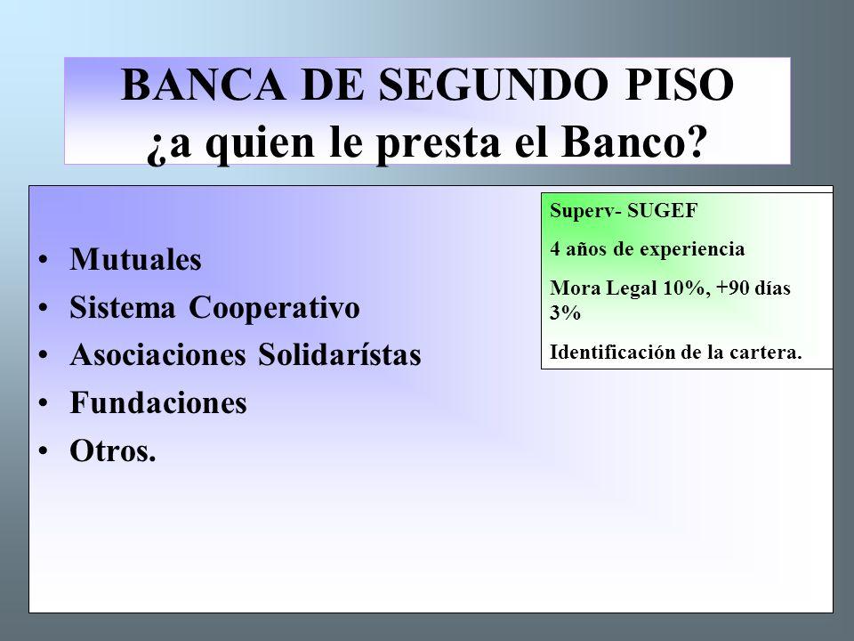 BANCA DE SEGUNDO PISO ¿a quien le presta el Banco.