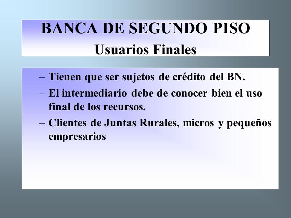 BANCA DE SEGUNDO PISO Usuarios Finales –Tienen que ser sujetos de crédito del BN.