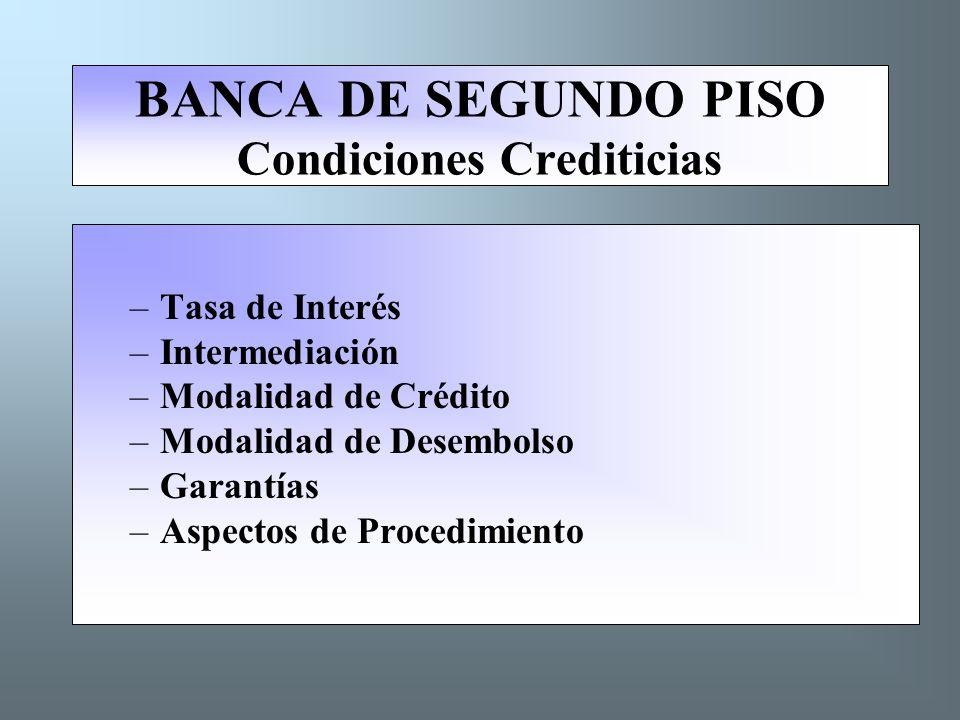 BANCA DE SEGUNDO PISO Condiciones Crediticias –Tasa de Interés –Intermediación –Modalidad de Crédito –Modalidad de Desembolso –Garantías –Aspectos de Procedimiento