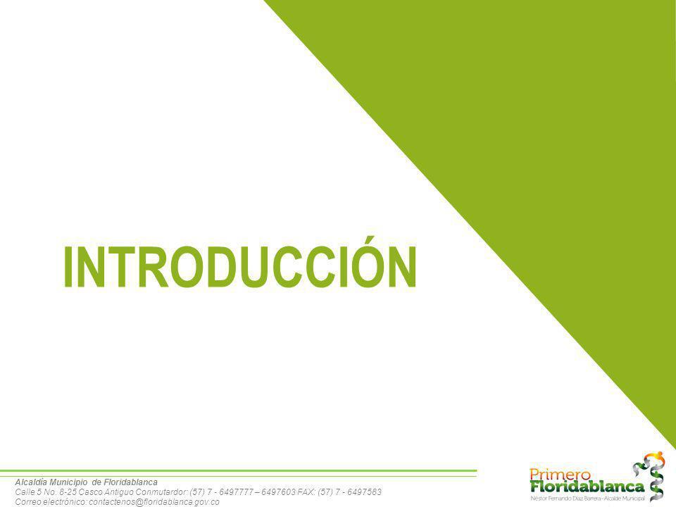 El Municipio de Floridablanca esta localizado en el Departamento de Santander 263.908 Hb: DANE