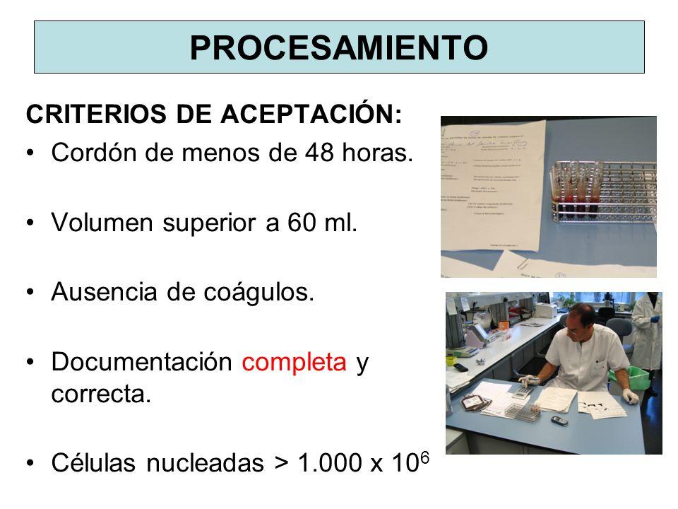 PROCESAMIENTO CRITERIOS DE ACEPTACIÓN: Cordón de menos de 48 horas. Volumen superior a 60 ml. Ausencia de coágulos. Documentación completa y correcta.