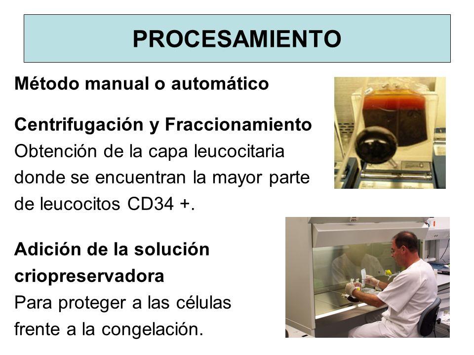 PROCESAMIENTO Método manual o automático Centrifugación y Fraccionamiento Obtención de la capa leucocitaria donde se encuentran la mayor parte de leuc
