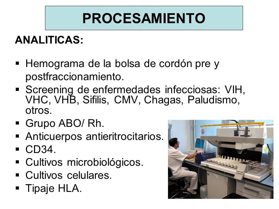 PROCESAMIENTO ANALITICAS: Hemograma de la bolsa de cordón pre y postfraccionamiento. Screening de enfermedades infecciosas: VIH, VHC, VHB, Sifilis, CM