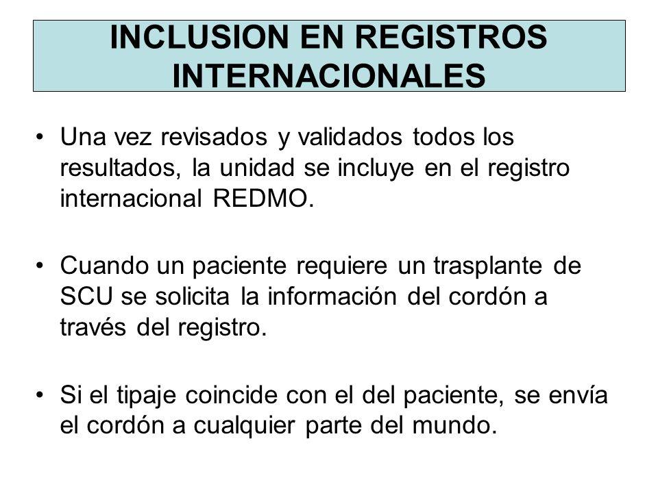 Una vez revisados y validados todos los resultados, la unidad se incluye en el registro internacional REDMO. Cuando un paciente requiere un trasplante