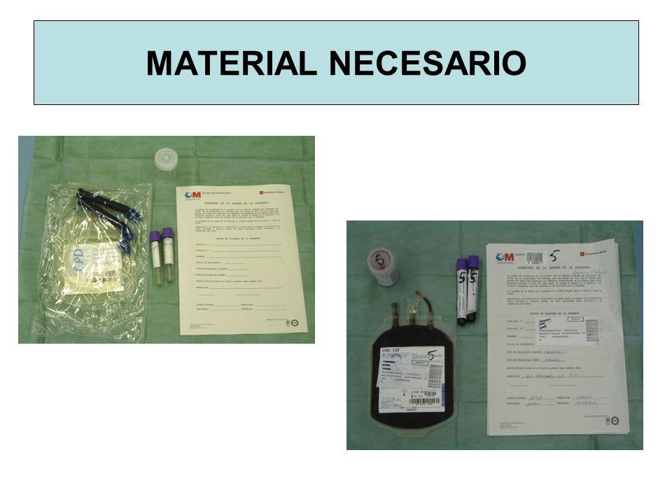 OBTENCION DE SCU 1.- Se extrae sangre de la madre para realizar las analíticas de enfermedades trasmisibles.