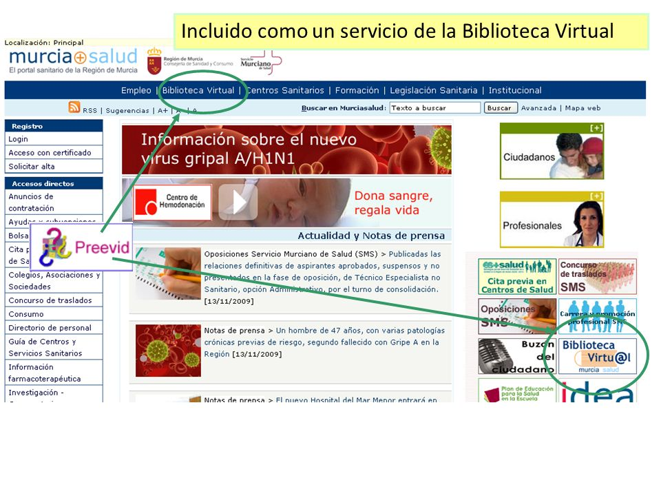 Incluido como un servicio de la Biblioteca Virtual