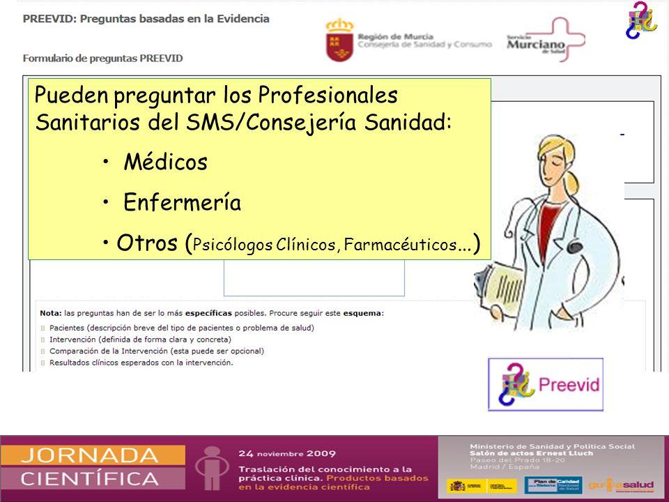 Pueden preguntar los Profesionales Sanitarios del SMS/Consejería Sanidad: Médicos Enfermería Otros ( Psicólogos Clínicos, Farmacéuticos …)