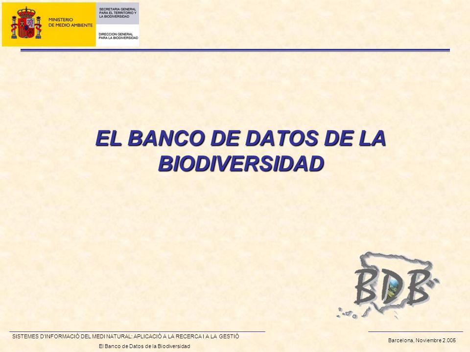 Barcelona, Noviembre 2.005 SISTEMES DINFORMACIÓ DEL MEDI NATURAL: APLICACIÓ A LA RECERCA I A LA GESTIÓ El Banco de Datos de la Biodiversidad EL BANCO DE DATOS DE LA BIODIVERSIDAD