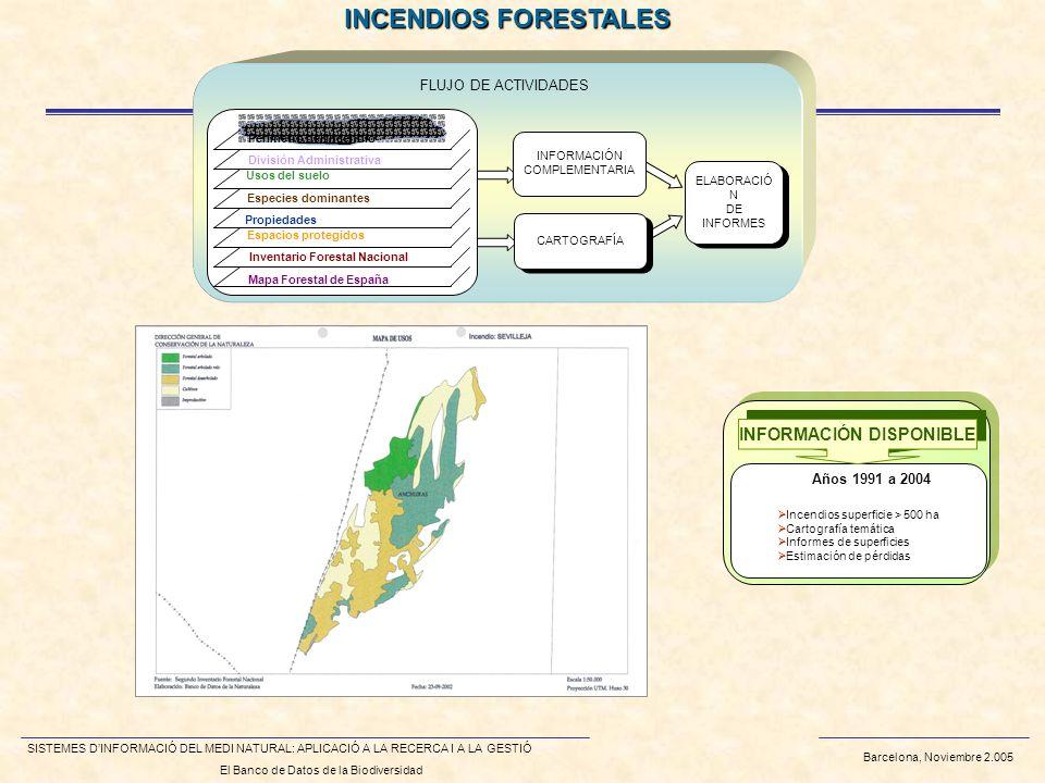 Barcelona, Noviembre 2.005 SISTEMES DINFORMACIÓ DEL MEDI NATURAL: APLICACIÓ A LA RECERCA I A LA GESTIÓ El Banco de Datos de la Biodiversidad INCENDIOS FORESTALES FLUJO DE ACTIVIDADES ELABORACIÓ N DE INFORMES ELABORACIÓ N DE INFORMES Perímetro del incendio División Administrativa Usos del suelo Especies dominantes Propiedades Espacios protegidos Inventario Forestal Nacional Mapa Forestal de España INFORMACIÓN COMPLEMENTARIA CARTOGRAFÍA Incendios superficie > 500 ha Cartografía temática Informes de superficies Estimación de pérdidas Años 1991 a 2004 INFORMACIÓN DISPONIBLE