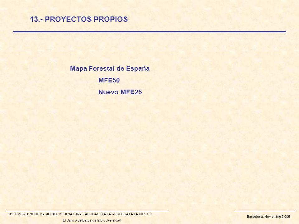 Barcelona, Noviembre 2.005 SISTEMES DINFORMACIÓ DEL MEDI NATURAL: APLICACIÓ A LA RECERCA I A LA GESTIÓ El Banco de Datos de la Biodiversidad 13.- PROYECTOS PROPIOS Mapa Forestal de España MFE50 Nuevo MFE25