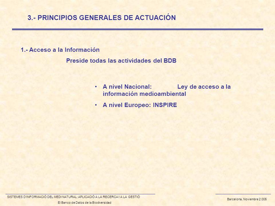 Barcelona, Noviembre 2.005 SISTEMES DINFORMACIÓ DEL MEDI NATURAL: APLICACIÓ A LA RECERCA I A LA GESTIÓ El Banco de Datos de la Biodiversidad Preside todas las actividades del BDB 3.- PRINCIPIOS GENERALES DE ACTUACIÓN A nivel Nacional:Ley de acceso a la información medioambiental A nivel Europeo: INSPIRE 1.- Acceso a la Información