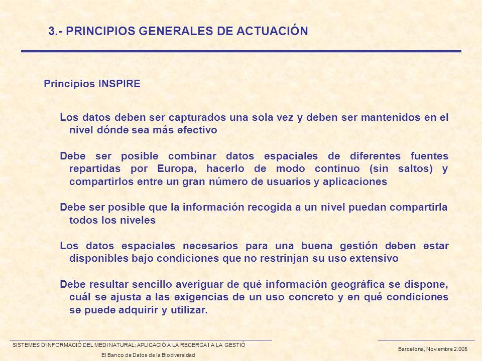 Barcelona, Noviembre 2.005 SISTEMES DINFORMACIÓ DEL MEDI NATURAL: APLICACIÓ A LA RECERCA I A LA GESTIÓ El Banco de Datos de la Biodiversidad Principio