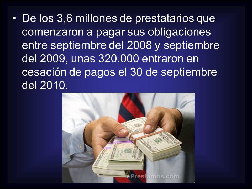 De los 3,6 millones de prestatarios que comenzaron a pagar sus obligaciones entre septiembre del 2008 y septiembre del 2009, unas 320.000 entraron en