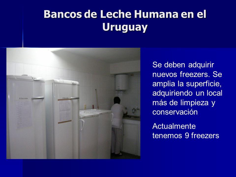 Bancos de Leche Humana en el Uruguay Se deben adquirir nuevos freezers.