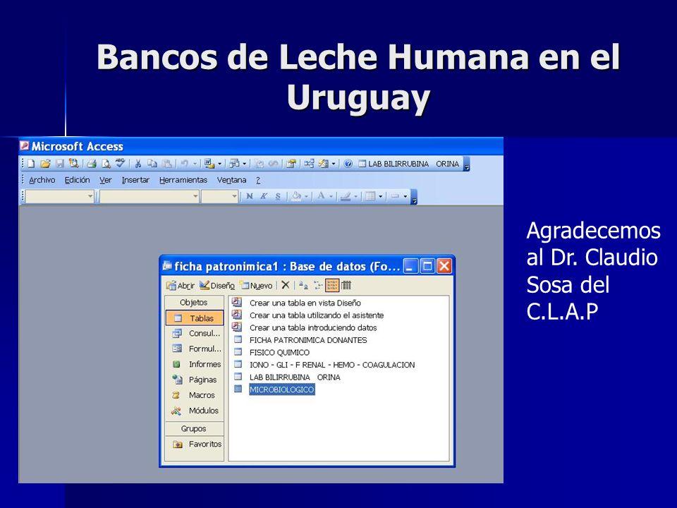 Bancos de Leche Humana en el Uruguay Agradecemos al Dr. Claudio Sosa del C.L.A.P