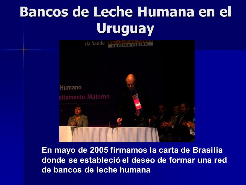 Bancos de Leche Humana en el Uruguay En mayo de 2005 firmamos la carta de Brasilia donde se estableció el deseo de formar una red de bancos de leche humana