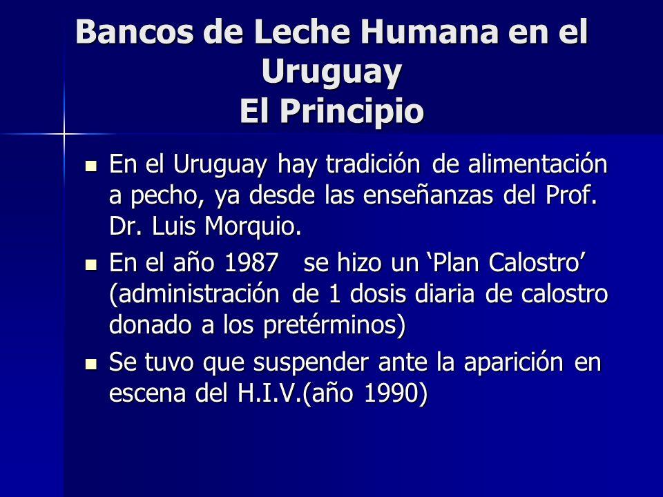 Bancos de Leche Humana en el Uruguay En febrero 2005 llega la estufa desde Brasil En febrero 2005 llega la estufa desde Brasil Se inicia el control microbiológico en marzo 2005 Se inicia el control microbiológico en marzo 2005