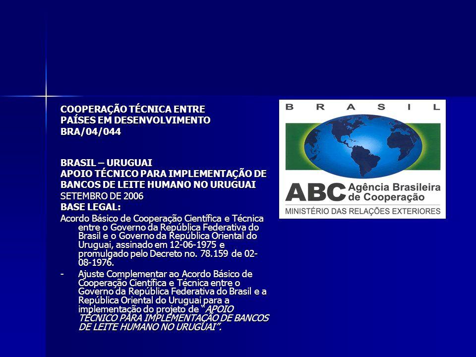 COOPERAÇÃO TÉCNICA ENTRE PAÍSES EM DESENVOLVIMENTO BRA/04/044 BRASIL – URUGUAI APOIO TÉCNICO PARA IMPLEMENTAÇÃO DE BANCOS DE LEITE HUMANO NO URUGUAI SETEMBRO DE 2006 BASE LEGAL: Acordo Básico de Cooperação Científica e Técnica entre o Governo da República Federativa do Brasil e o Governo da República Oriental do Uruguai, assinado em 12-06-1975 e promulgado pelo Decreto no.