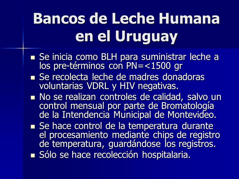 Bancos de Leche Humana en el Uruguay Se inicia como BLH para suministrar leche a los pre-términos con PN=<1500 gr Se inicia como BLH para suministrar leche a los pre-términos con PN=<1500 gr Se recolecta leche de madres donadoras voluntarias VDRL y HIV negativas.