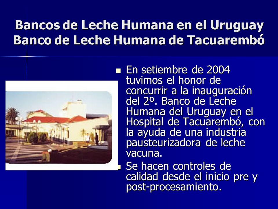 Bancos de Leche Humana en el Uruguay Banco de Leche Humana de Tacuarembó En setiembre de 2004 tuvimos el honor de concurrir a la inauguración del 2º.