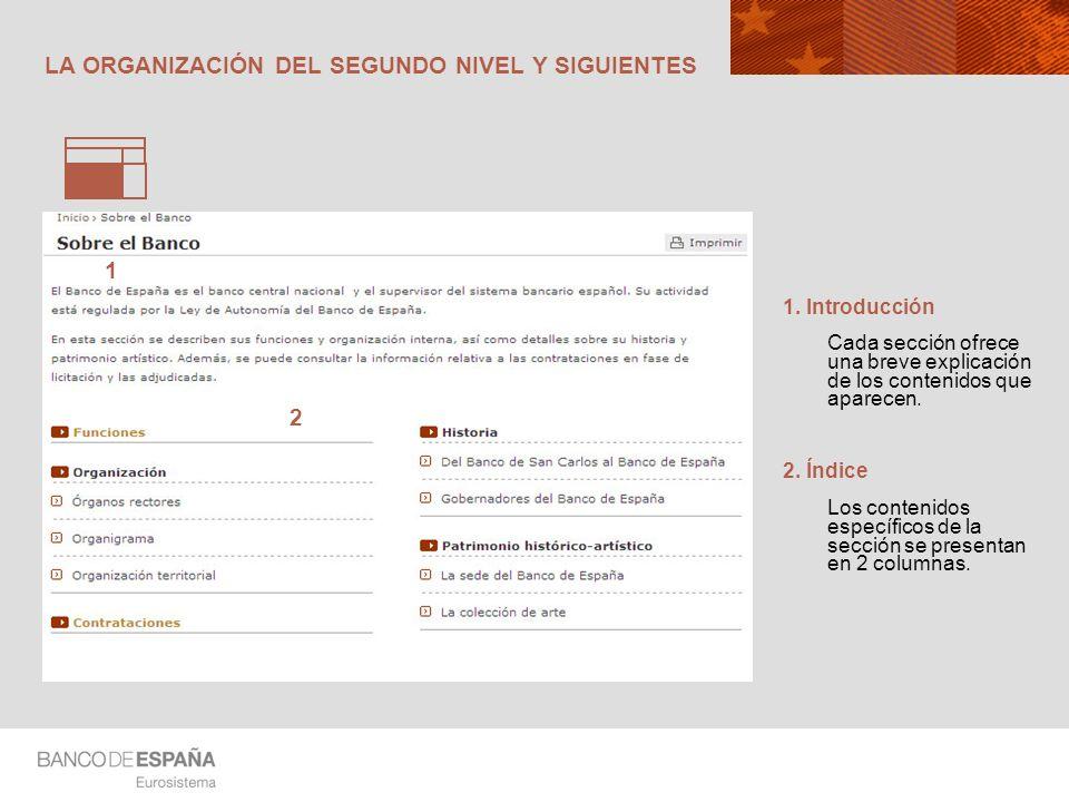 LA ORGANIZACIÓN DEL SEGUNDO NIVEL Y SIGUIENTES 1. Introducción Cada sección ofrece una breve explicación de los contenidos que aparecen. 2. Índice Los
