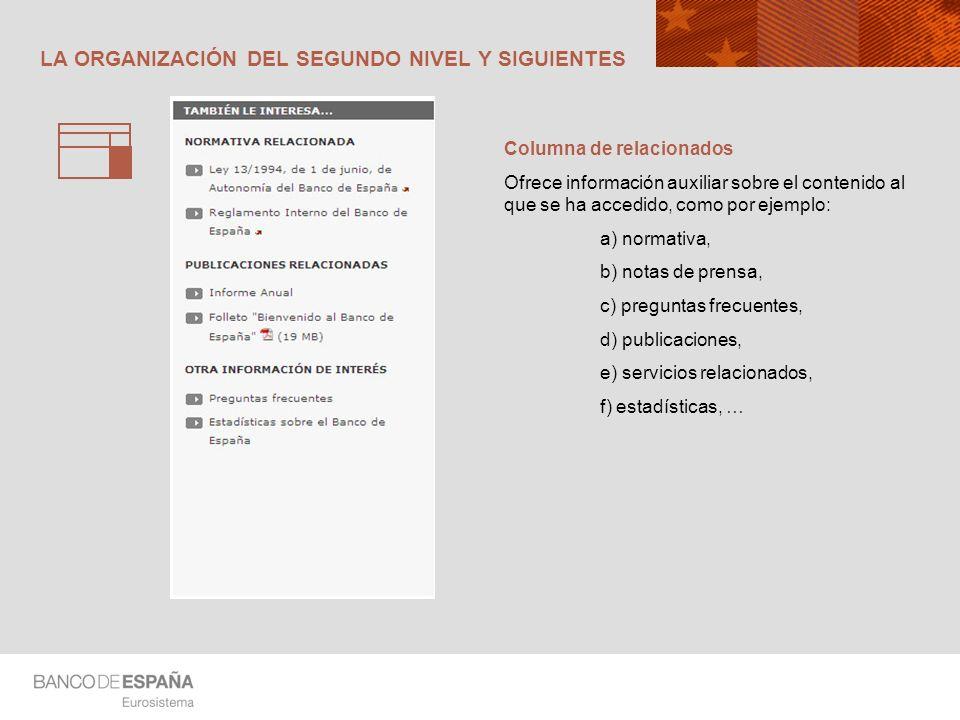 LA ORGANIZACIÓN DEL SEGUNDO NIVEL Y SIGUIENTES Columna de relacionados Ofrece información auxiliar sobre el contenido al que se ha accedido, como por