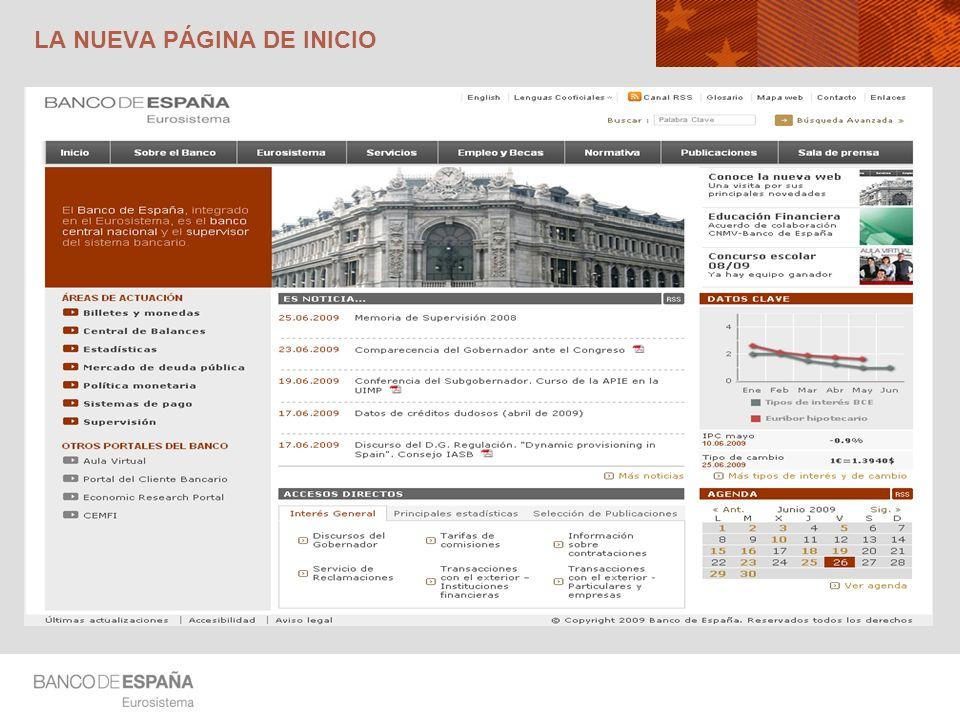 LA ORGANIZACIÓN DE LA PÁGINA DE INICIO Cabecera Presentación del Banco Destacados Áreas de actuación Cuerpo central Datos clave Agenda