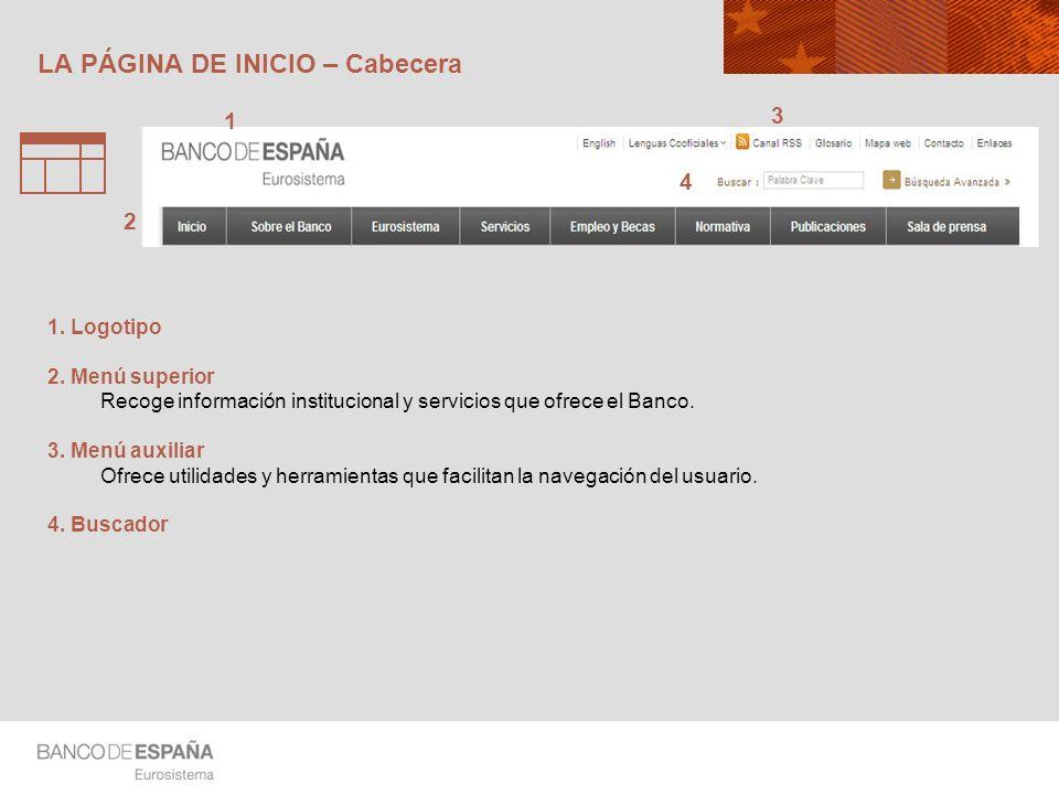 LA PÁGINA DE INICIO – Cabecera 3 2 1 4 1. Logotipo 2. Menú superior Recoge información institucional y servicios que ofrece el Banco. 3. Menú auxiliar