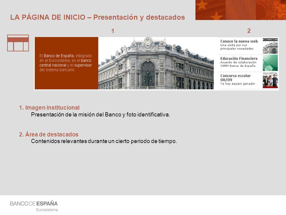 LA PÁGINA DE INICIO – Presentación y destacados 1 2 1. Imagen institucional Presentación de la misión del Banco y foto identificativa. 2. Área de dest