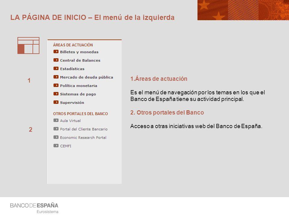 LA PÁGINA DE INICIO – El menú de la izquierda 1.Áreas de actuación Es el menú de navegación por los temas en los que el Banco de España tiene su activ