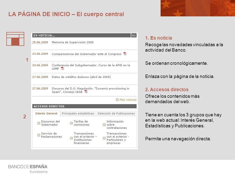 LA PÁGINA DE INICIO – Datos clave y agenda 1.