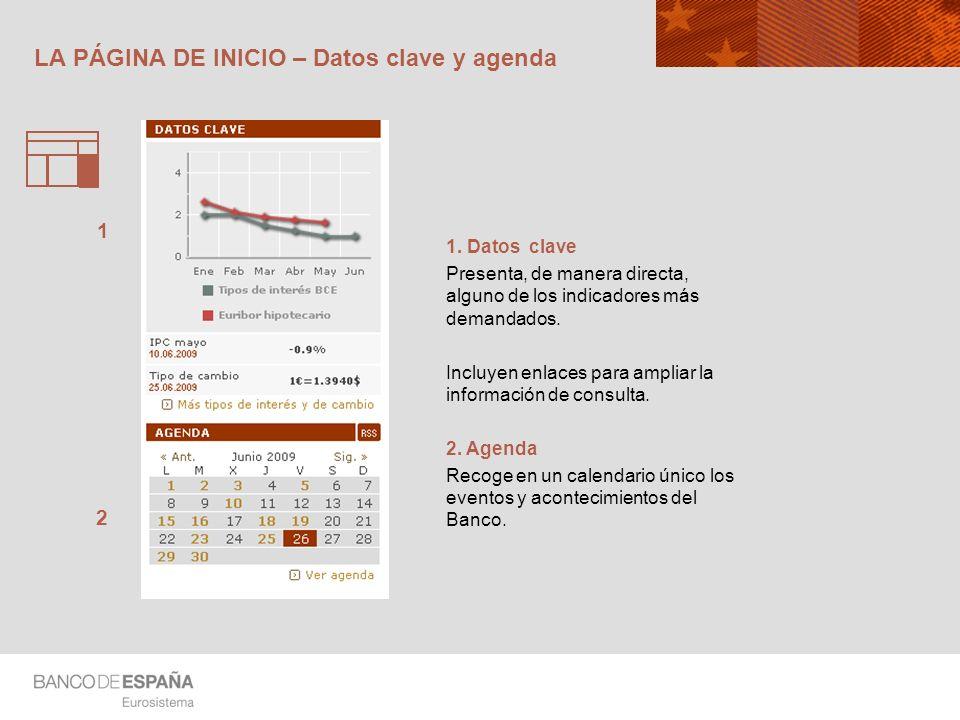 LA PÁGINA DE INICIO – Datos clave y agenda 1. Datos clave Presenta, de manera directa, alguno de los indicadores más demandados. Incluyen enlaces para