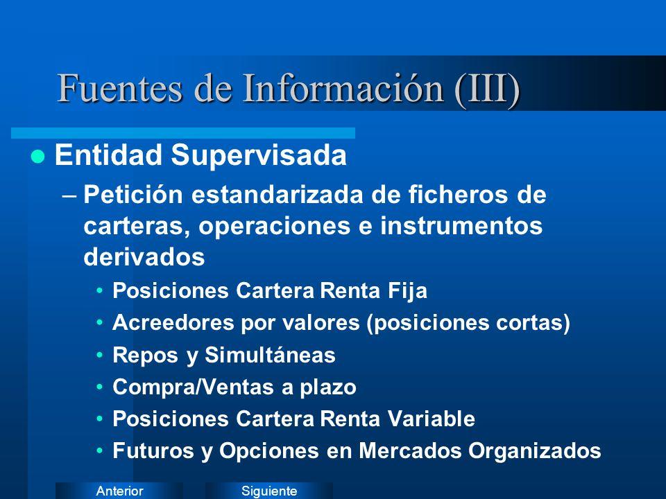 SiguienteAnterior Fuentes de Información (II) Entidad Supervisada –Petición estandarizada de ficheros de carteras, operaciones e instrumentos derivado